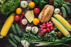 Healthy food and ingredients on rustic wooden background Royalty Free Stock Image