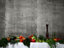 Healthy food ingredients vegetables, fruits herbs and spices. Organic vegetables on table. And concrete wall background royalty free stock photography