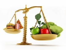 Healthy food and junk food in scales of a balanced scale. 3D illustration.  Stock Image