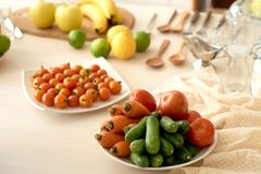 Healthy Food on Kitchen Table Royalty Free Stock Photography