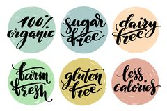 Healthy food label set. Product labels or stickers. Free from gluten, dairy and sugar food label set. 100 percent. Organic, farm fresh, less calories words by vector illustration