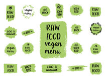 Healthy food labels. Hand drawn logo templates. Vector. Retro set of 100% bio, organic, eco, healthy food labels. Hand drawn logo templates. Vector badges in royalty free illustration