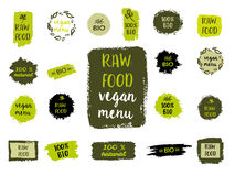 Healthy food labels. Hand drawn logo templates. Vector. Retro set of 100% bio, organic, eco, healthy food labels. Hand drawn logo templates. Vector badges in vector illustration