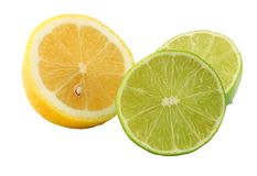 Healthy food. lemon and lime isolated on white background royalty free stock images