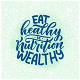 Healthy food lettering for banner design. Organic nutrition eco product. Vector. Illustration stock illustration