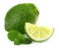 Healthy food. lime with mint leaves isolated on white background stock photography