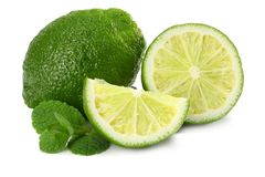 Healthy food. lime with mint leaves isolated on white background Royalty Free Stock Photo