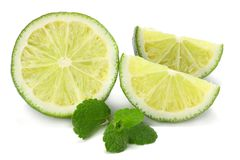 healthy food. lime with mint leaves isolated on white background royalty free stock image