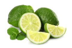 Healthy food. lime with mint leaves isolated on white background stock image