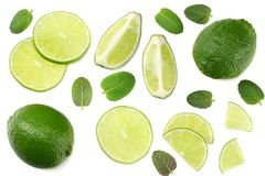 Healthy food. lime with mint leaves isolated on white background top view stock photo