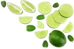 Healthy food. lime with mint leaves isolated on white background top view stock image