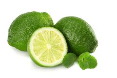 Healthy food. lime with mint leaves isolated on white background top view Royalty Free Stock Photo