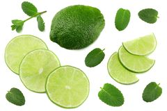 Healthy food. lime with mint leaves isolated on white background top view stock photos