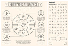 Healthy Food Line Design Infographic Template Royalty Free Stock Images