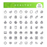 Healthy Food Line Icons Set. Set of 56 healthy food line icons suitable for web, infographics and apps. on white background. Clipping paths included royalty free illustration