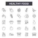 Healthy food line icons for web and mobile design. Editable stroke signs. Healthy food  outline concept illustrations. Healthy food line icons for web and mobile stock illustration