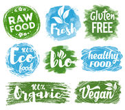 Healthy Food Logo. Labels, logos and badges set with healthy, eco, organic and raw food diet designs for meal and drink, shops, cafe, restaurants and products Royalty Free Stock Images