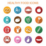 Healthy food long shadow icons Stock Images