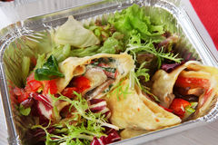 Healthy food, lunch in box, diet concept. Healthy food in box. Natural organic food. Weight loss diet, low carb lunch take away in aluminium container. Healthy Royalty Free Stock Images