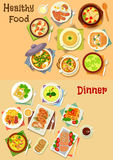 Healthy food for lunch and dinner icon set Royalty Free Stock Images