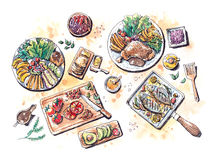 Healthy food meal set flat lay watercolor illustration Royalty Free Stock Photos