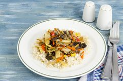 Healthy food without meat, rice with vegetables. Studio Photo royalty free stock images