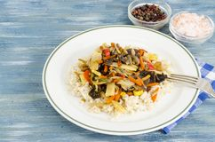 Healthy food without meat, rice with vegetables. Studio Photo royalty free stock photo