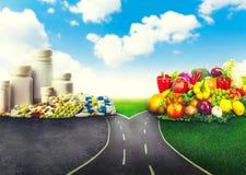 Healthy food of medicines stock photos