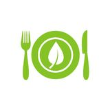 Healthy food menu icon. Green abstract healthy food menu icon isolated Royalty Free Stock Photos