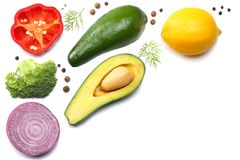 Healthy food. mix of avocado, lemon, red onion, sweet bell pepper  on white background top view Stock Photography