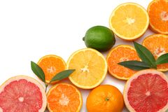 healthy food. mix sliced lemon, green lime, orange, mandarin and grapefruit with green leaf isolated on white background. stock photos