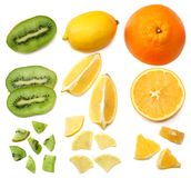 Healthy food. mix sliced lemon, orange, mandarin and kiwi fruit with green leaf isolated on white background. top view Royalty Free Stock Photography
