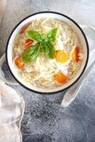 Noodles soup with carrot and egg stock photography