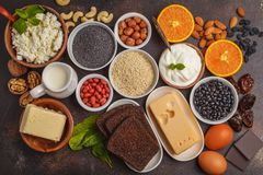 Healthy food nutrition dieting concept. Assortment of high calcium sources. Dairy products, legumes, eggs, nuts, chocolate, poppy. Sesame, chocolate royalty free stock photos