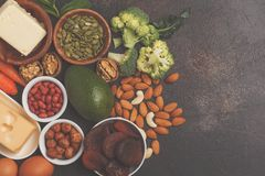 Healthy food nutrition dieting concept. Assortment of high vitamin A sources. stock photography