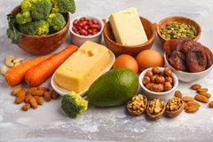 Healthy food nutrition dieting concept. Assortment of high vitamin A sources. royalty free stock photography