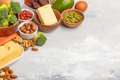 Healthy food nutrition dieting concept. Assortment of high vitamin A sources. stock images