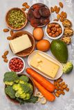 Healthy food nutrition dieting concept. Assortment of high vitamin A sources. royalty free stock photos