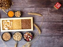 Healthy food nutrition dieting concept. Assortment of high vitamin E sources. nuts, seeds, beans, buckweat, lentils, chickpea,. Healthy fats concept royalty free stock photos