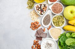 Healthy food nutrition dieting concept. Top view, copy space, flat lay. Healthy food nutrition dieting concept. Gray concrete or stone background. Top view stock images