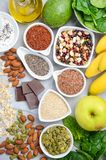 Healthy food nutrition dieting concept. Top view, flat lay. Healthy food nutrition dieting concept. Gray concrete or stone background. Top view, flat lay Royalty Free Stock Photo