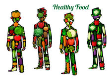 Healthy food nutrition. Human body icons Royalty Free Stock Photo