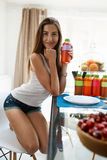 Healthy Food And Nutrition. Woman Drinking Detox Juice, Smoothie Stock Photography