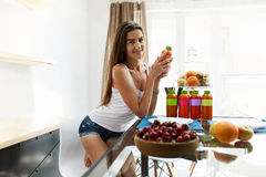 Healthy Food And Nutrition. Woman Drinking Detox Juice, Smoothie Royalty Free Stock Photography