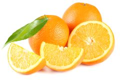 Healthy food. orange with green leaf isolated on white background Stock Photos