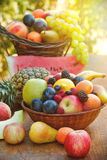 Healthy food - organic fruits (fresh fruits) Stock Photos