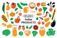 Healthy food, organic products set. Funny doodle hand drawn vector illustration. Farm market cute nutrition collection. stock illustration