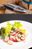 Healthy food organic slices radish salad in white plate on black. Slate board Stock Photo