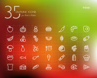 Healthy food outline icons set Royalty Free Stock Photography