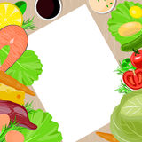 Healthy food and paper vector blank template. stock images